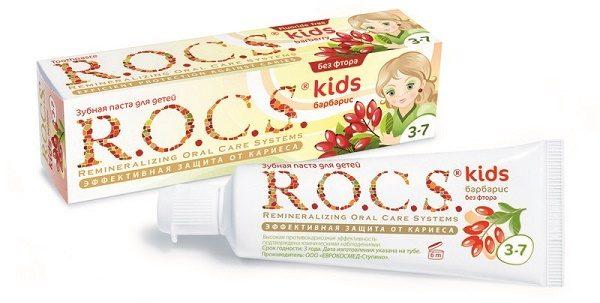 ROCS kids с ароматом барбариса, действие зубной пасты