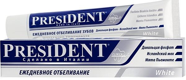 отбеливающая паста PRESIDENT White